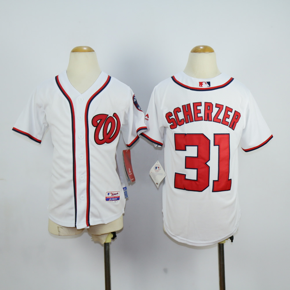 Youth Washington Nationals 31 Scherzer White MLB Jerseys