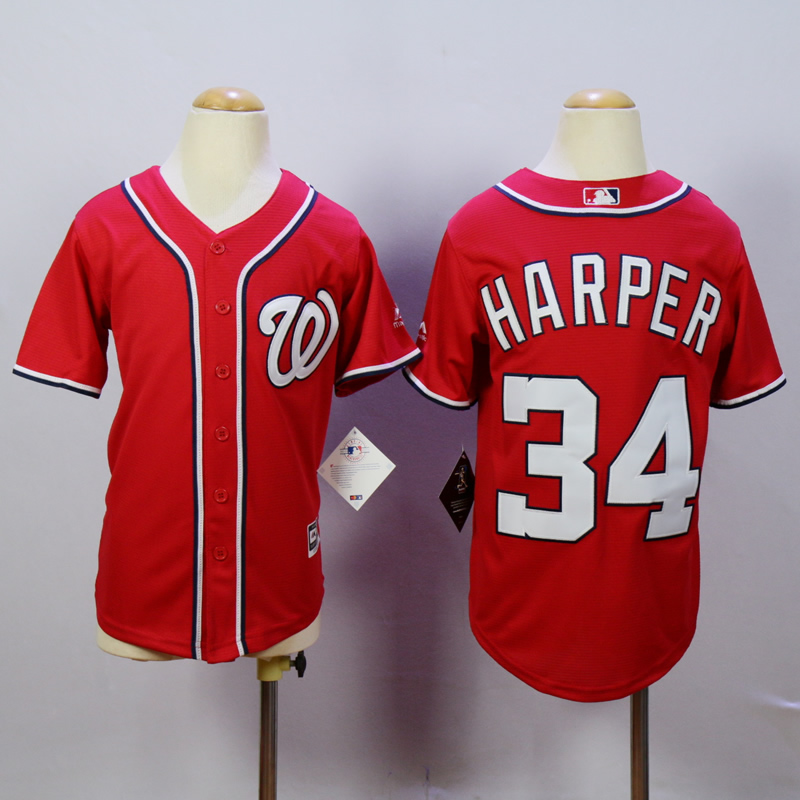 Youth Washington Nationals 34 Harper Red MLB Jerseys