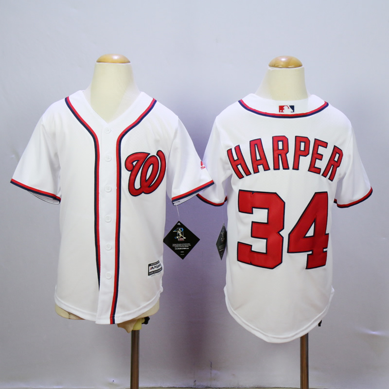 Youth Washington Nationals 34 Harper White MLB Jerseys