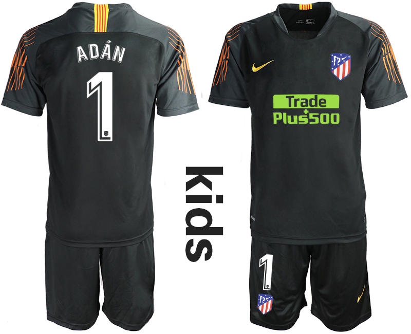 2018_2019 Club Atletico Madrid black Youth goalkeeper 1 soccer jerseys