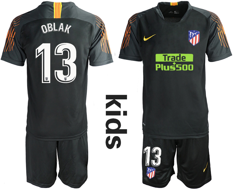 2018_2019 Club Atletico Madrid black Youth goalkeeper 13 soccer jerseys
