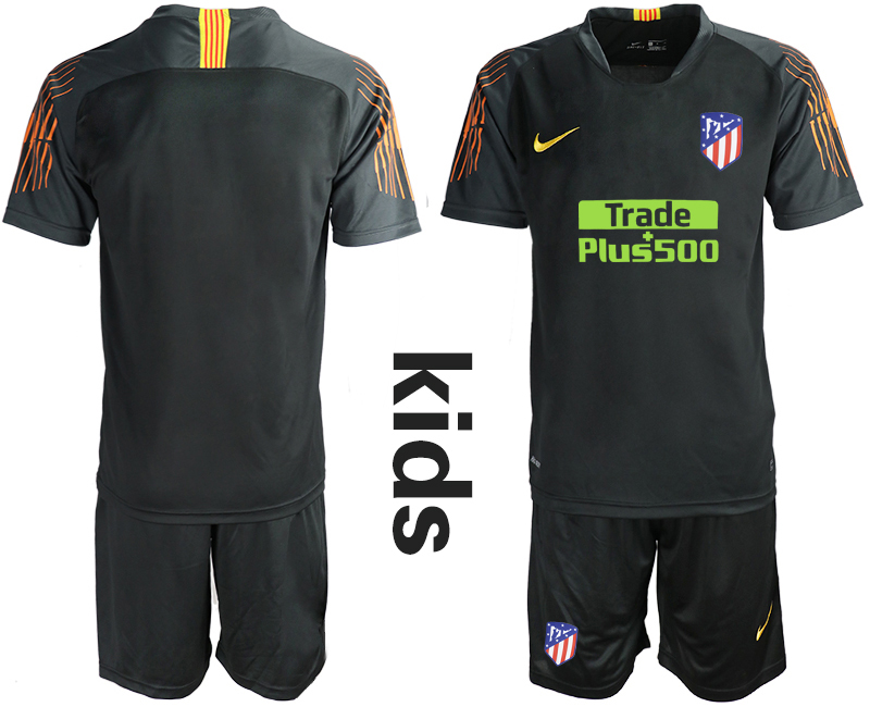 2018_2019 Club Atletico Madrid black Youth goalkeeper soccer jerseys