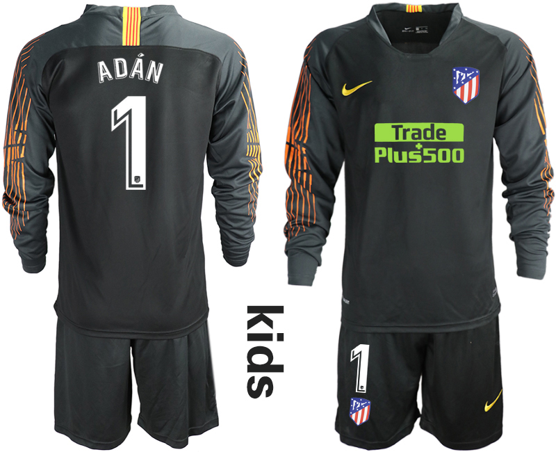 2018_2019 Club Atletico Madrid black long sleeve Youth goalkeeper 1 soccer jerseys
