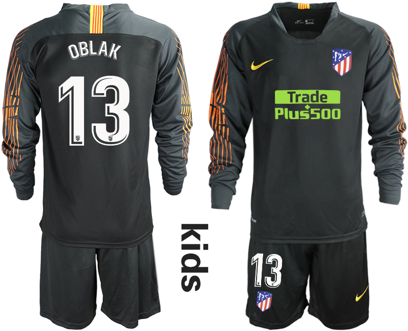 2018_2019 Club Atletico Madrid black long sleeve Youth goalkeeper 13 soccer jerseys