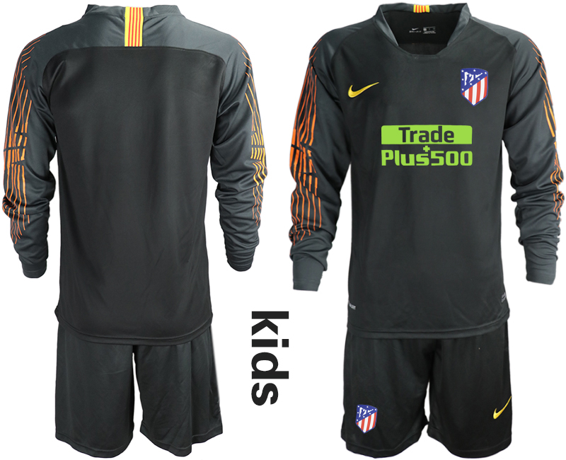 2018_2019 Club Atletico Madrid black long sleeve Youth goalkeeper soccer jerseys