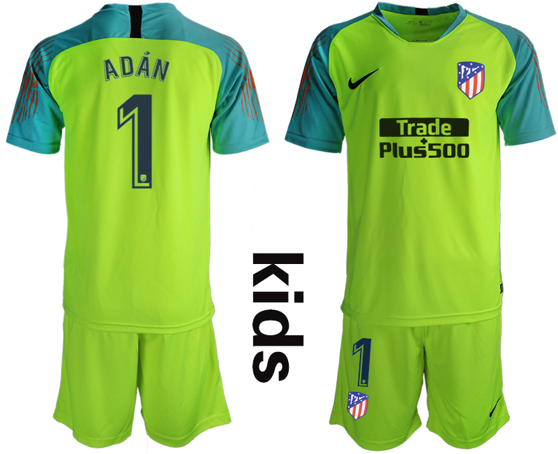 2018_2019 Club Atletico Madrid fluorescent green Youth goalkeeper 1 soccer jerseys