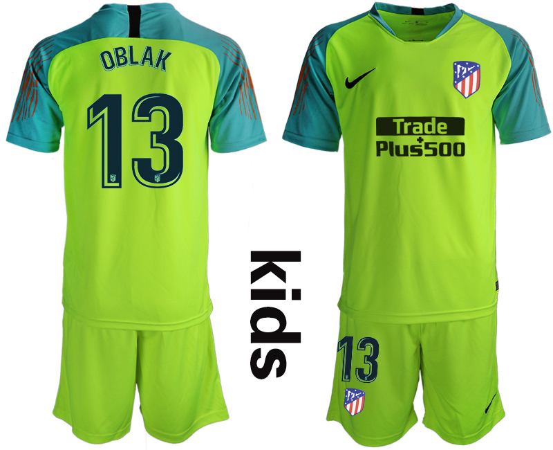 2018_2019 Club Atletico Madrid fluorescent green Youth goalkeeper 13 soccer jerseys