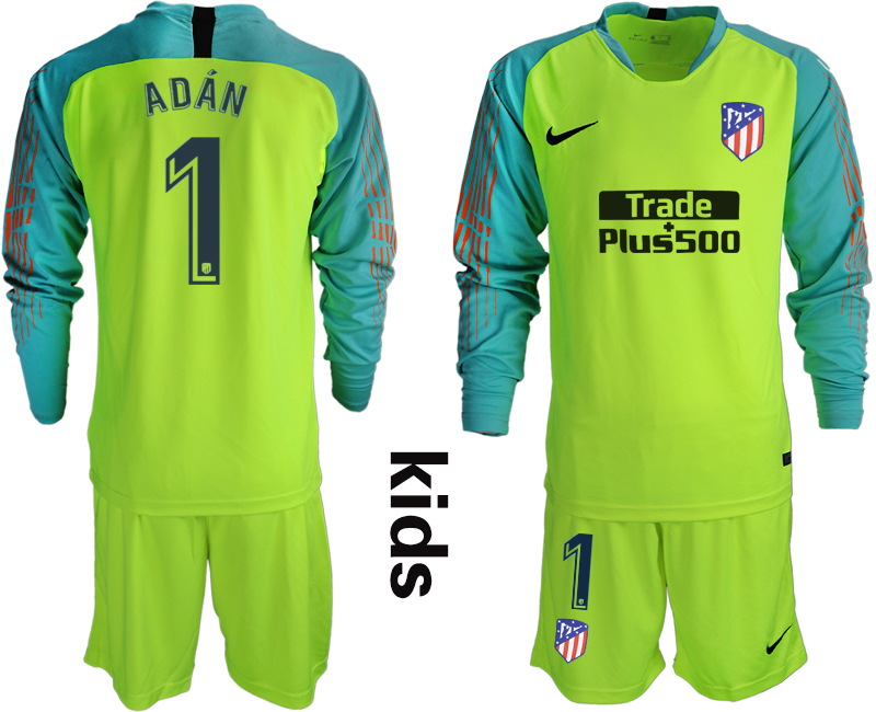 2018_2019 Club Atletico Madrid fluorescent green long sleeve Youth goalkeeper 1 soccer jerseys