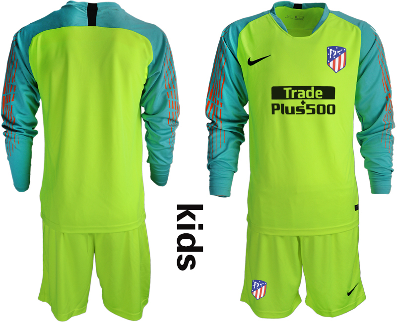 2018_2019 Club Atletico Madrid fluorescent green long sleeve Youth goalkeeper soccer jerseys