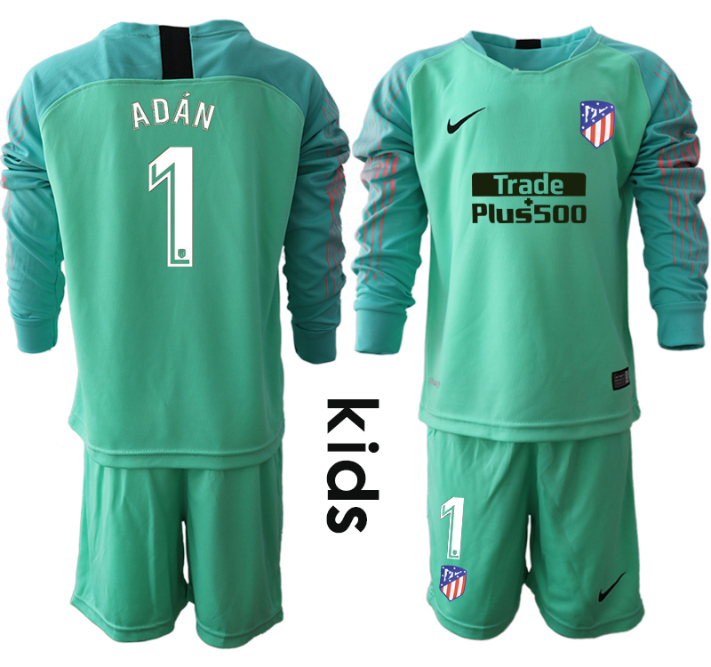2018_2019 Club Atletico Madrid green goalkeeper long sleeve Youth 1 soccer jerseys