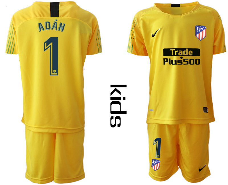 2018_2019 Club Atletico Madrid yellow goalkeeper Youth 1 soccer jerseys