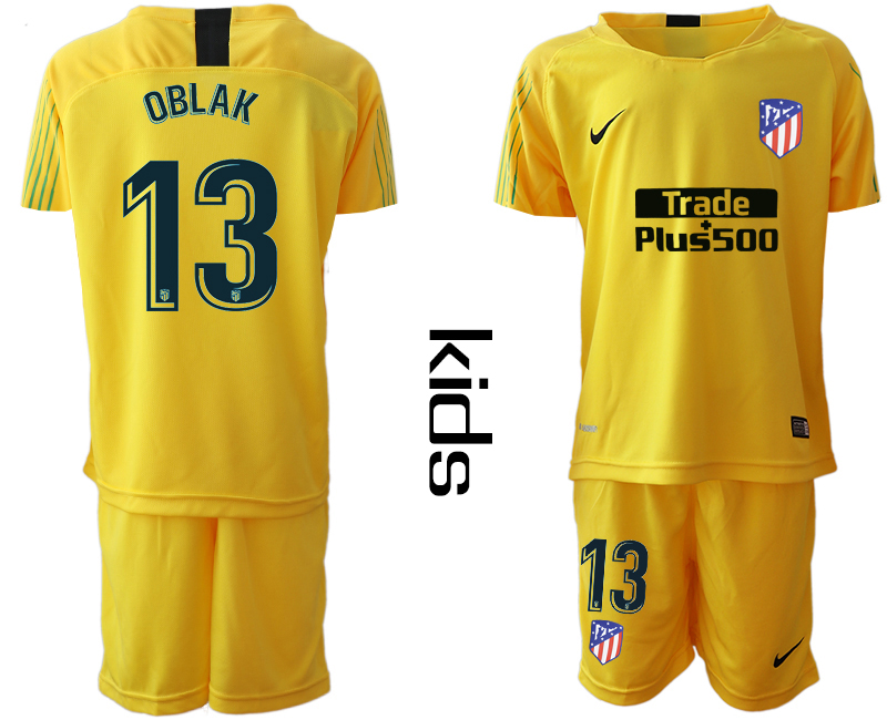 2018_2019 Club Atletico Madrid yellow goalkeeper Youth 13 soccer jerseys