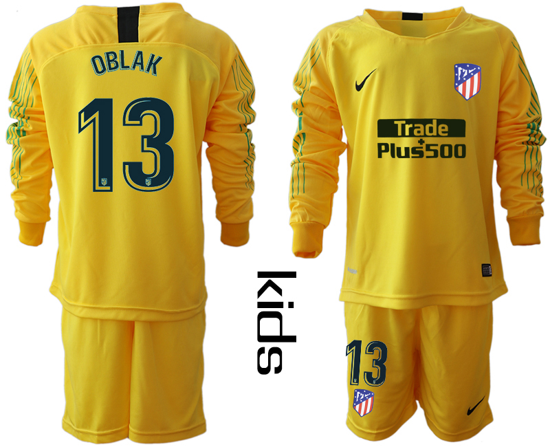 2018_2019 Club Atletico Madrid yellow goalkeeper long sleeve Youth 13 soccer jerseys