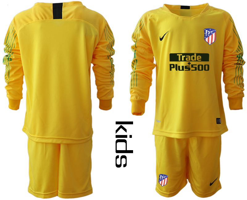 2018_2019 Club Atletico Madrid yellow goalkeeper long sleeve Youth soccer jerseys