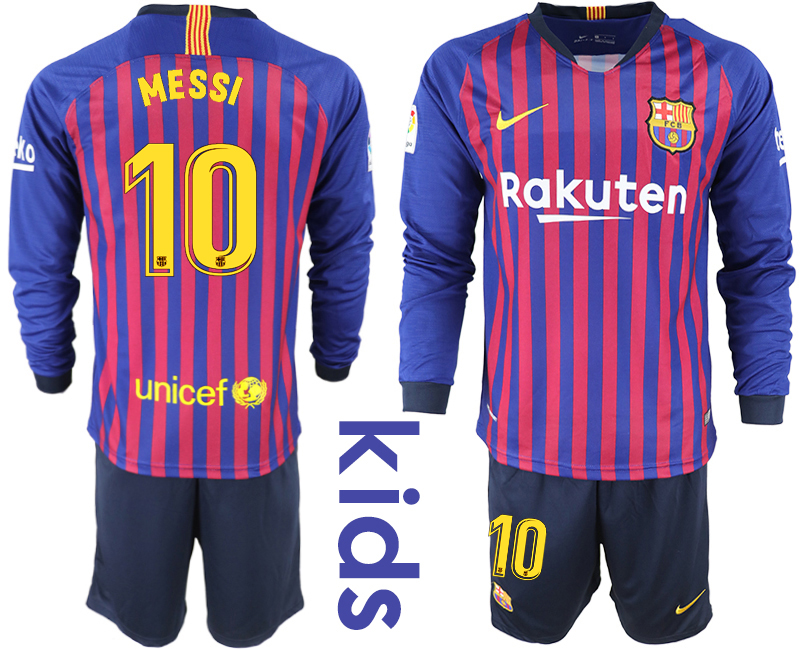 2018_2019 Club Barcelona home long sleeve Youth 10 soccer jerseys