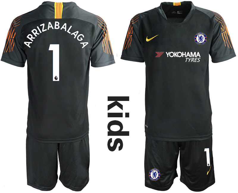 2018_2019 Club Chelsea black Youth goalkeeper 1 soccer jerseys
