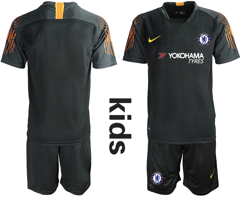 2018_2019 Club Chelsea black Youth goalkeeper soccer jerseys
