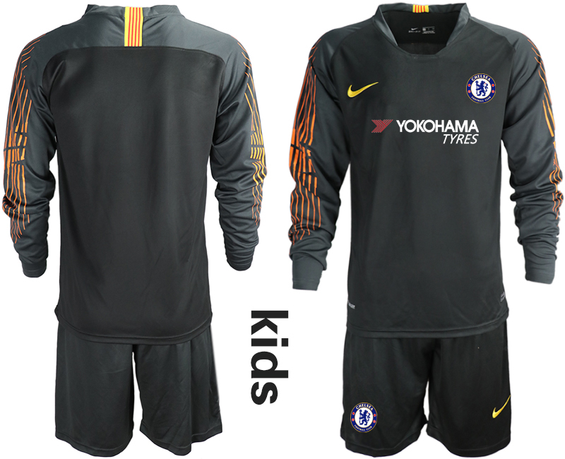 2018_2019 Club Chelsea black long sleeve Youth goalkeeper soccer jerseys