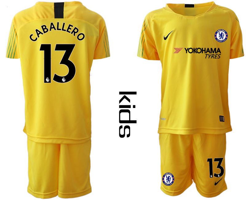 2018_2019 Club Chelsea yellow Youth goalkeeper 13 soccer jerseys