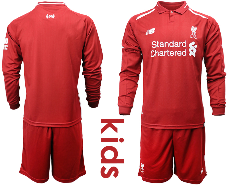 2018_2019 Club Liverpool home long sleeves Youth soccer jerseys
