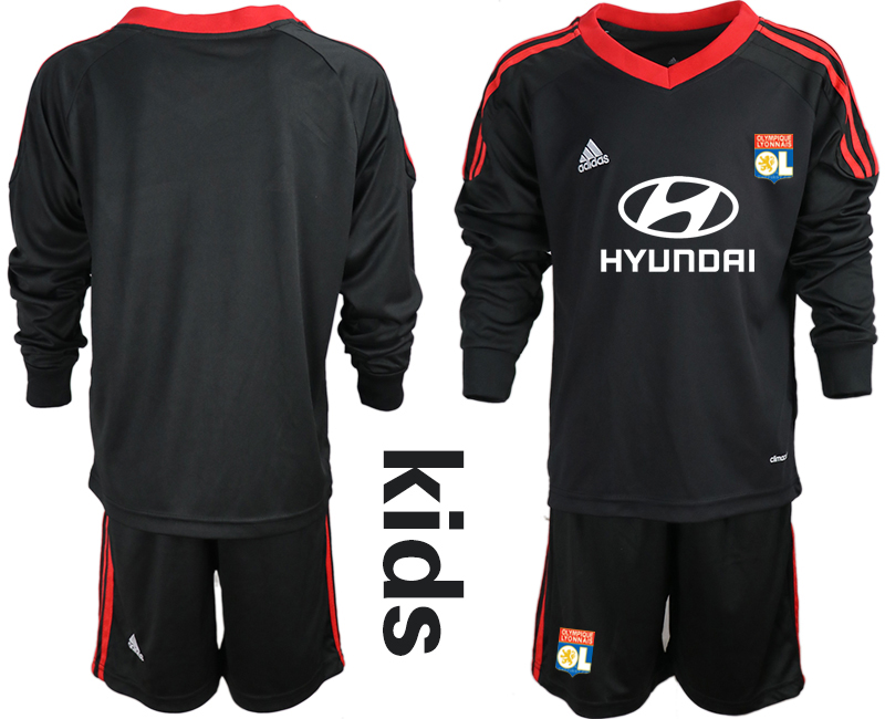 2018_2019 Club Olympique Lyonnais black long sleeve Youth goalkeeper soccer jerseys