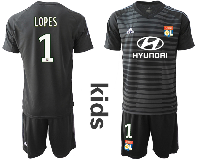 2018_2019 Club Olympique Lyonnais black youth goalkeeper 1 soccer jerseys