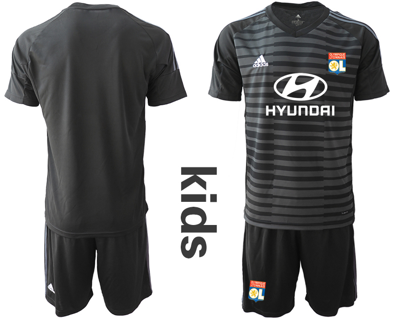 2018_2019 Club Olympique Lyonnais black youth goalkeeper soccer jerseys