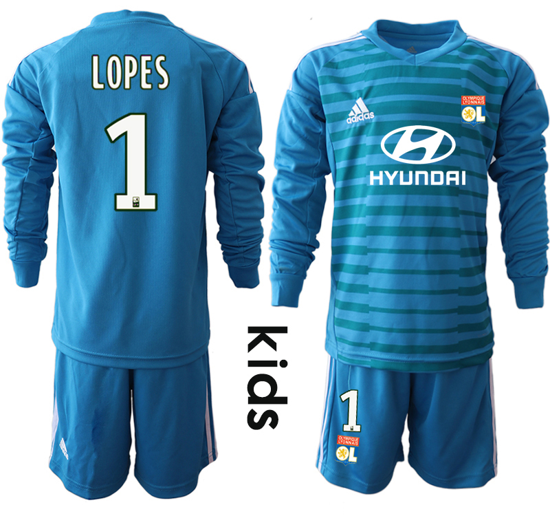 2018_2019 Club Olympique Lyonnais blue goalkeeper Youth Long sleeve 1 soccer jerseys