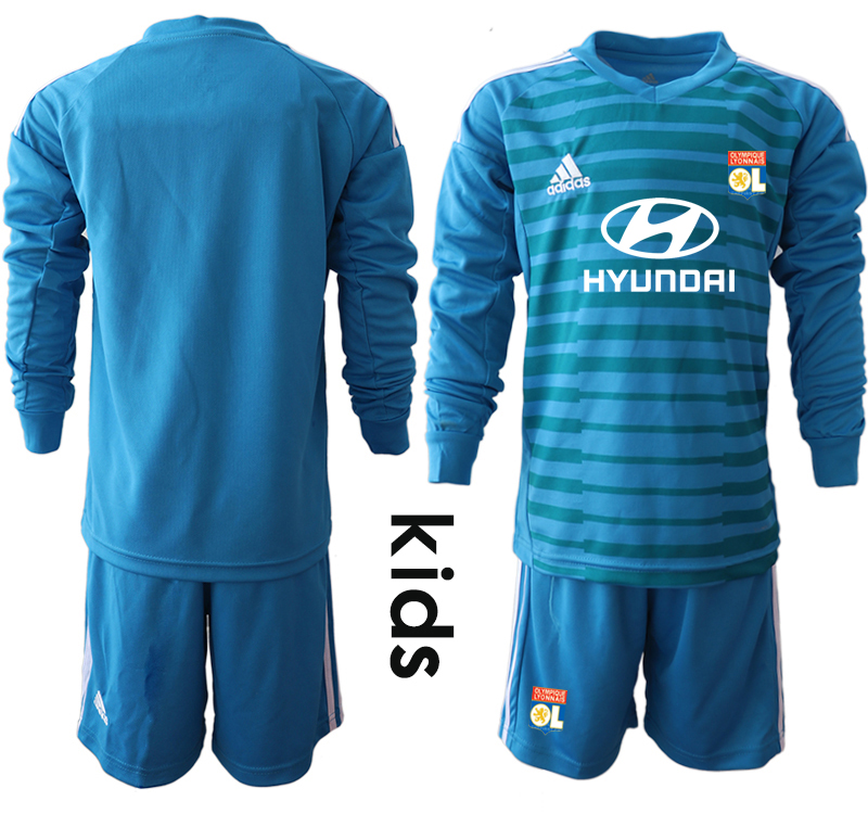 2018_2019 Club Olympique Lyonnais blue goalkeeper Youth Long sleeve soccer jerseys