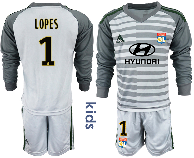 2018_2019 Club Olympique Lyonnais gray long sleeve Youth goalkeeper 1 soccer jerseys