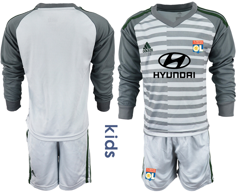2018_2019 Club Olympique Lyonnais gray long sleeve youth goalkeeper soccer jerseys