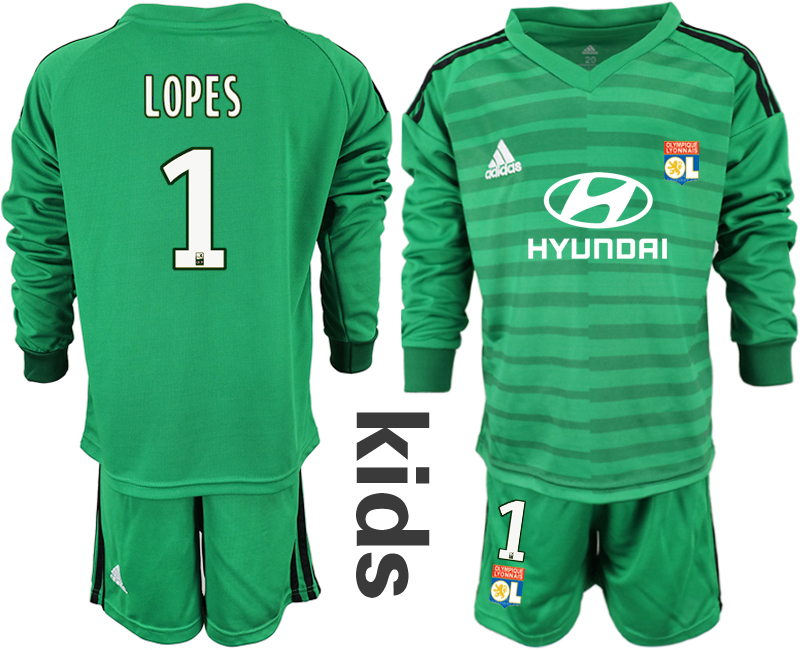 2018_2019 Club Olympique Lyonnais green long sleeve Youth goalkeeper 1 soccer jerseys
