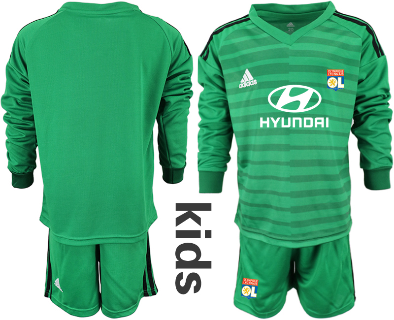 2018_2019 Club Olympique Lyonnais green long sleeve Youth goalkeeper soccer jerseys
