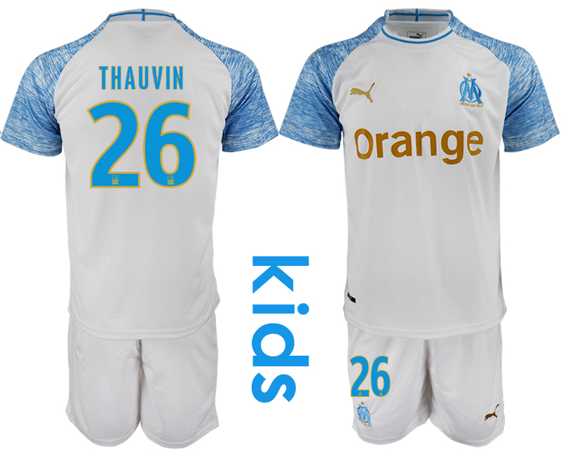 2018_2019 Club Olympique de Marseille home Youth 26 soccer jerseys