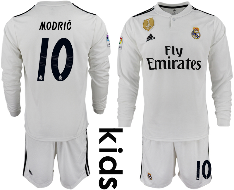 2018_2019 Club Real Madrid home long sleeve Youth 10 soccer jerseys