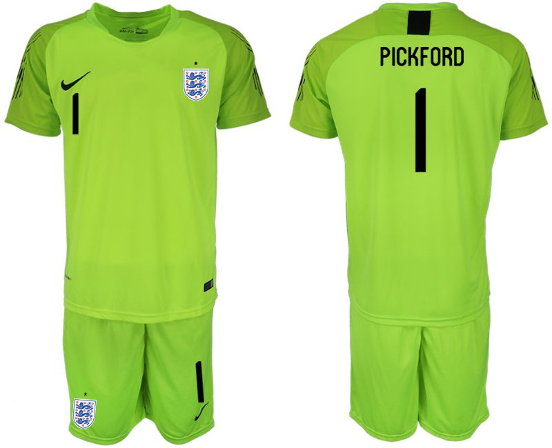 Men 2018 World Cup England fluorescent green goalkeeper 1 Soccer Jerseys
