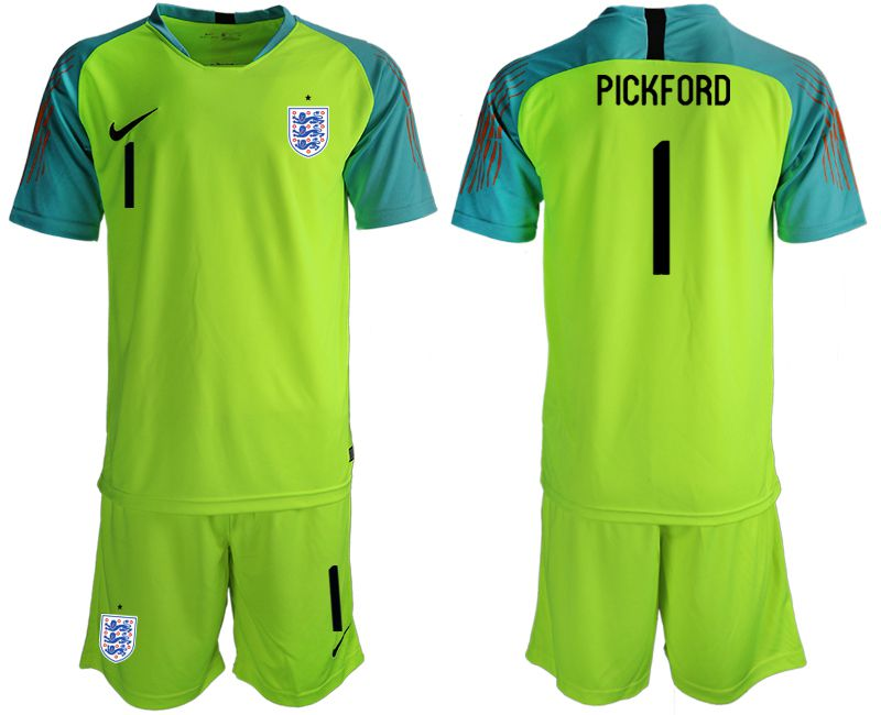 Men 2018 World Cup England fluorescent green goalkeeper 1 Soccer Jerseys1