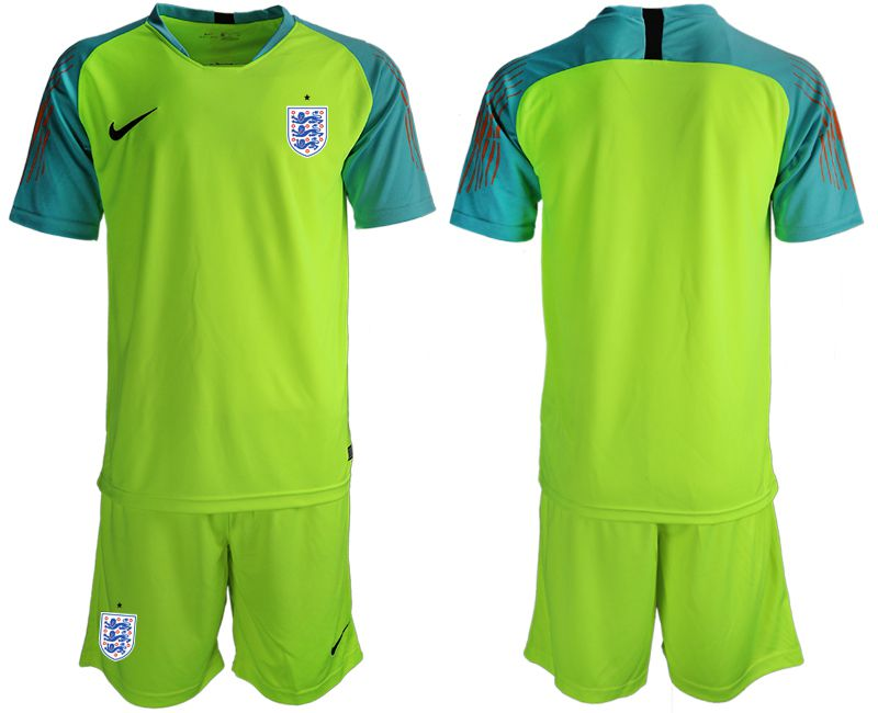 Men 2018 World Cup England fluorescent green goalkeeper Soccer Jerseys1