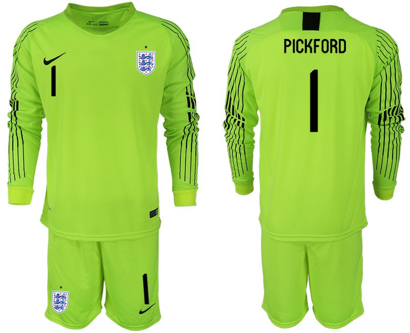 Men 2018 World Cup England fluorescent green long sleeve goalkeeper 1 Soccer Jerseys