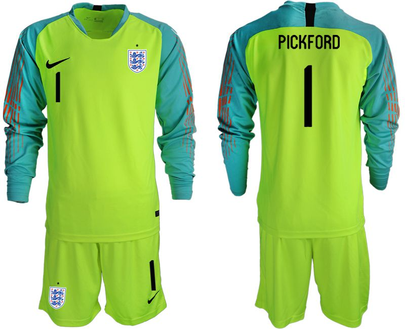 Men 2018 World Cup England fluorescent green long sleeve goalkeeper 1 Soccer Jerseys1
