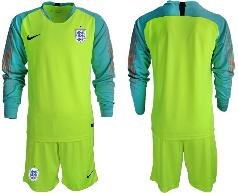 Men 2018 World Cup England fluorescent green long sleeve goalkeeper Soccer Jerseys1