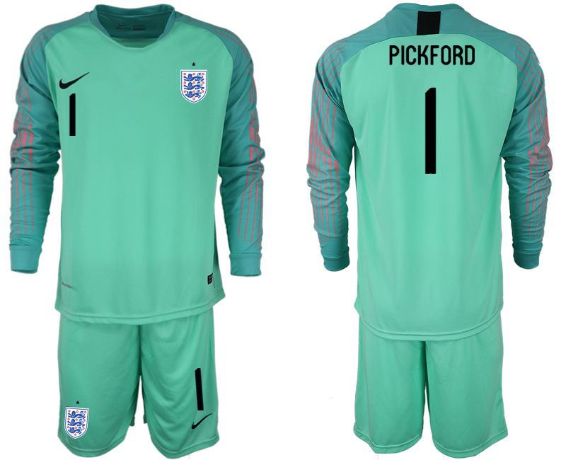 Men 2018 World Cup England green goalkeeper long sleeve 1 Soccer Jerseys