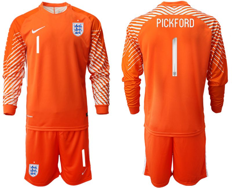 Men 2018 World Cup England orange goalkeeper long sleeve 1 Soccer Jerseys