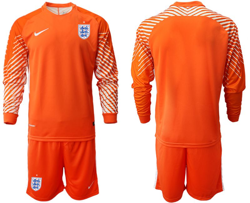 Men 2018 World Cup England orange goalkeeper long sleeve Soccer Jerseys