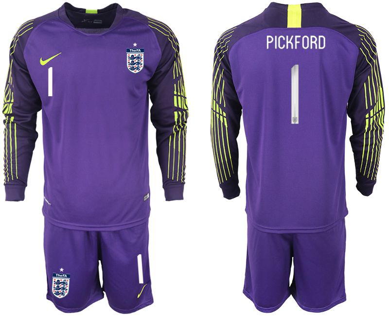 Men 2018 World Cup England purple goalkeeper long sleeve 1 Soccer Jerseys