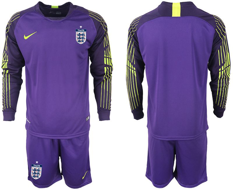 Men 2018 World Cup England purple goalkeeper long sleeve Soccer Jerseys