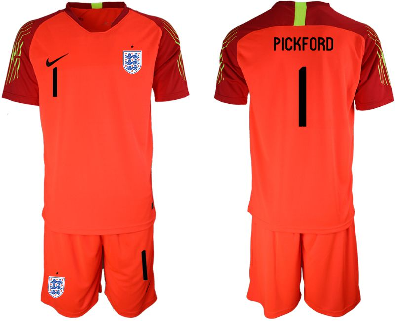 Men 2018 World Cup England red goalkeeper 1 Soccer Jerseys