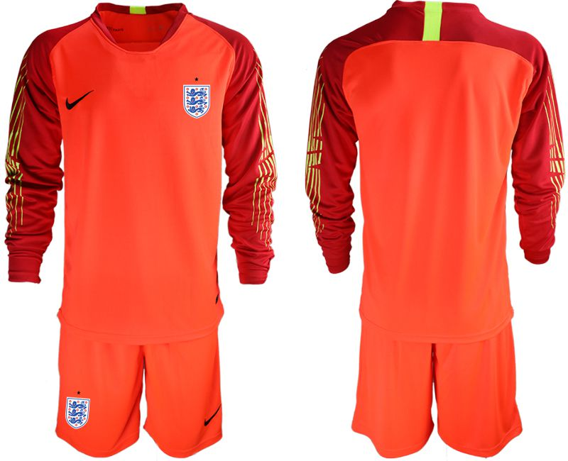 Men 2018 World Cup England red goalkeeper long sleeve Soccer Jerseys