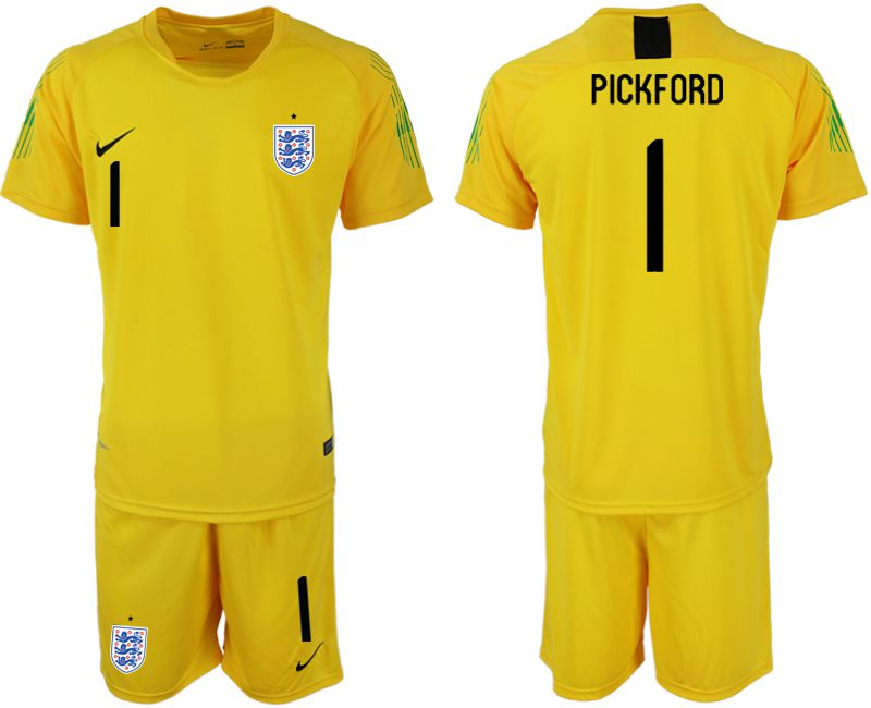 Men 2018 World Cup England yellow goalkeeper 1 Soccer Jerseys