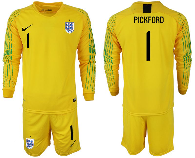 Men 2018 World Cup England yellow goalkeeper long sleeve 1 Soccer Jerseys